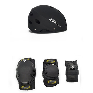 Combo Negro Protecciones Uso Rudo Profesional + Casco Ajustable + Regalo Patinaje Ciclismo
