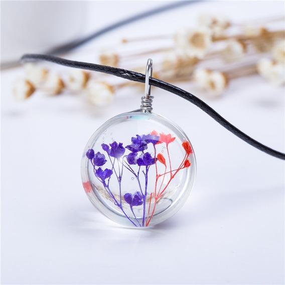 Colar De Cristal Bola De Vidro Flores Coloridas