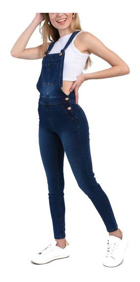 Jardinero Largo Mujer Enterito Elastizado Azul Talle 36a48