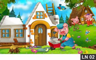 Painel De Festa Aniversário Três Porquinhos 3,00x1,40m