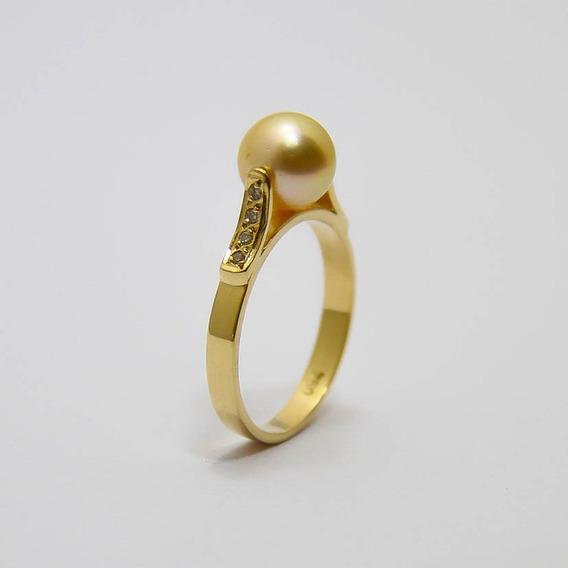 Anel Perola Em Ouro 18k Diamantes