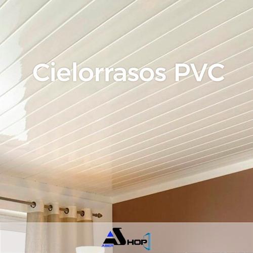 Imagen 1 de 7 de Cielorraso De Pvc Blanco De 20cm X 3mts De Largo Tiras