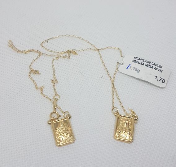 Escapulário Cartier Medalha Médio Em Ouro 18k 750 1,70g 45cm