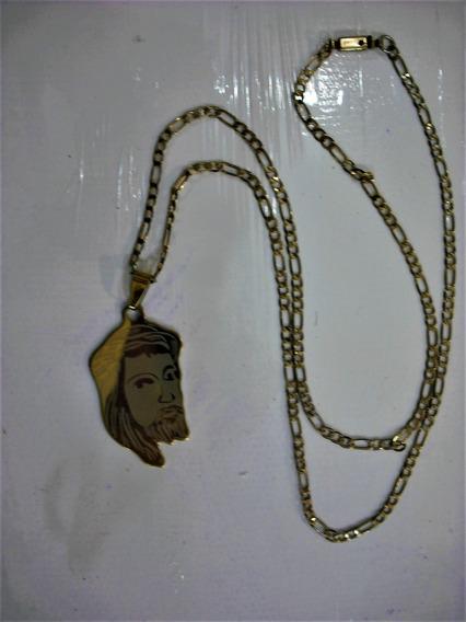 Corrente 60 Cm, Folheada A Ouro Mais Pingente De Aço Dourado