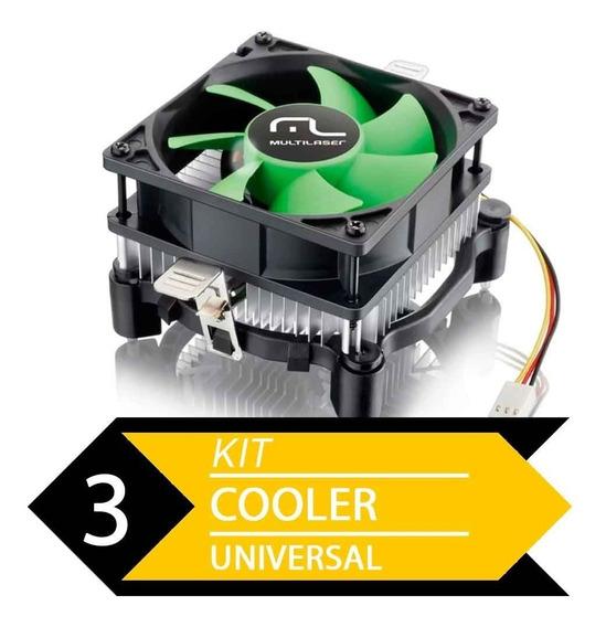 Kit 3 Cooler Uni Amd E Intel Multilaser Ga120 - Baixo Ruído.