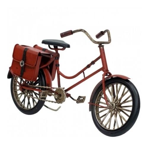 Bicicleta Vermelha Enfeite 23cm Estilo Retrô - Vintage