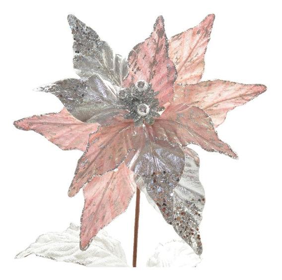 Poinsettia Velvet/metalizado Palo De Rosa /plateado