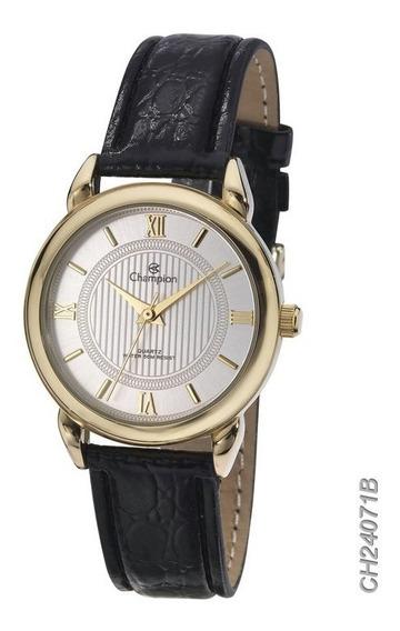 Relógio Champion Social Dourado Ch24071b Em Couro