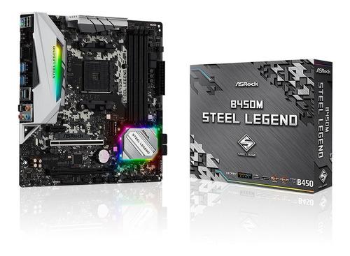 Imagem 1 de 9 de Placa Mãe Asrock B450m Steel Legend Chipset B450 Am4 Ddr4