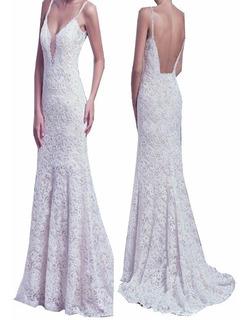 Vestido Renda Noiva Simples Decote Costas Calda Alça Vrl558