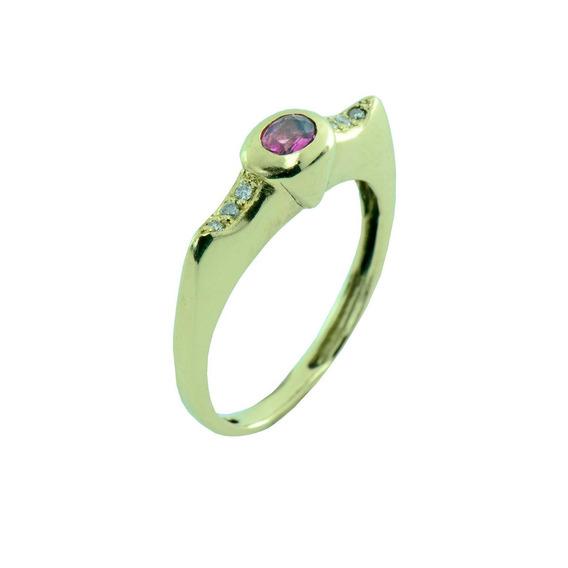 Anel Ouro 18k Feminino Turmalina Rosa + Diamantes + Estojo