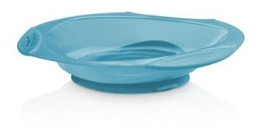 Prato Raso Com Ventosa Funny Meal Azul Multikids Baby - Bb04