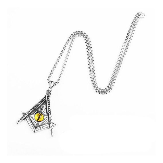 Collar Dije Triangulo Iluminati Ojo 316l Acero Inoxidable