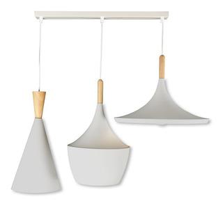 Lámpara Colgante Moderna Beat Linear Wide Tall Fat Blanco