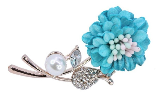 Dije Pin Broche Para Ropa Flores Perlas Y Piedras Cristal