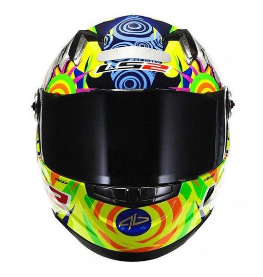 Capacete para moto integral LS2 Réplica Alex Barros yellow tamanho M