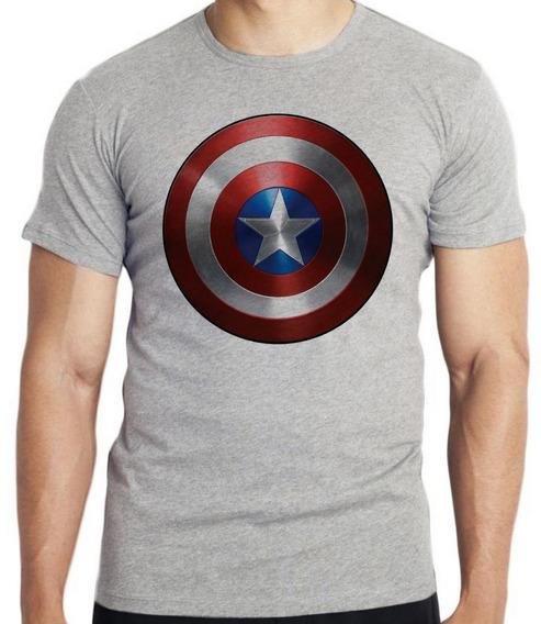 Camiseta Luxo Capitao America Escudo Marvel Vingadores Aveng