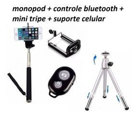 Bastão Monopod Disparador Bluetooth S. Celular + Mini Tripe