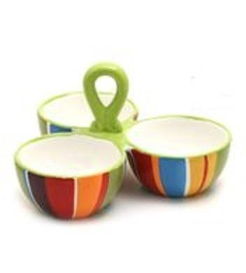 Copetinero 3 Bowls Redondos Ceramica Rayas Colores