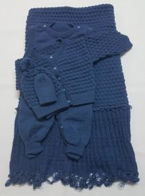 Saída Maternidade Tricot Menino Azul Jeans