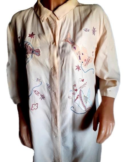 Camisa En Tela De Algodon Con Apliques Bordados Xxl/xxxl