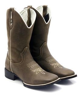 Bota Texana Country Masculina Lisa Marrom Arame 33060