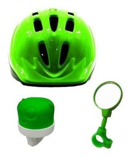 Capacete Retrovisor Buzina Infantil Kit Para Bicicletas
