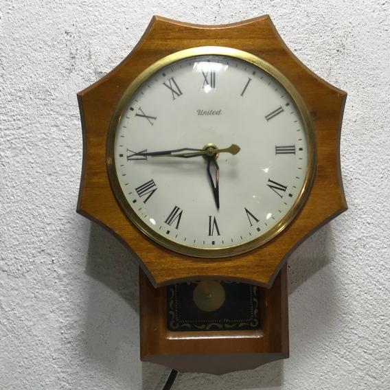 Hermoso Reloj United Pendulo Eléctrico Pared U S A Vintage