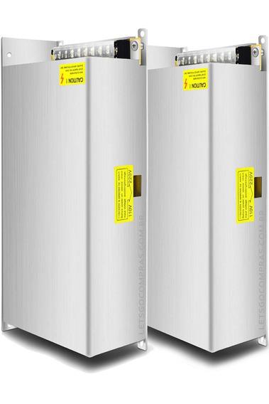 Kit 2 Fonte De Alimentação 12 Volts 80 Amperes 960w Potência Para Som Carro Cftv Câmeras Fita De Led Bivolt 110v 220v