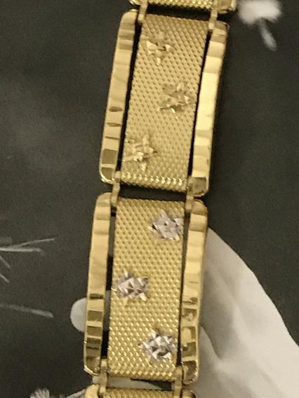 Pulseira Em Ouro 18k-750 Tamanho: 21 Cm, Peso: 21,6 Gramas