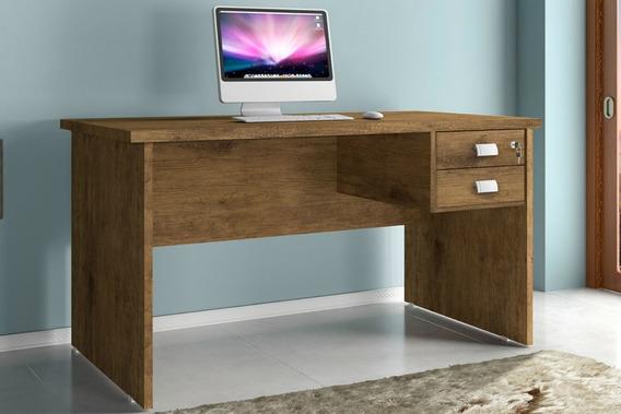 Mesa Para Computador Marrom Espaçosa Com 2 Gavetas 1 Chave