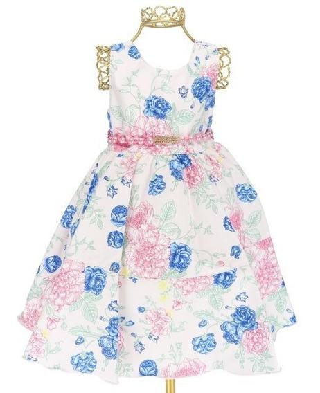 Vestido Festa Infantil Floral Alegre Colorido Cinto Strass