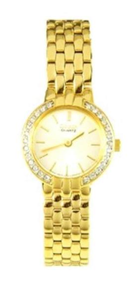 Reloj Cuarzo Pulsera Acero Inoxidable Gold Dama