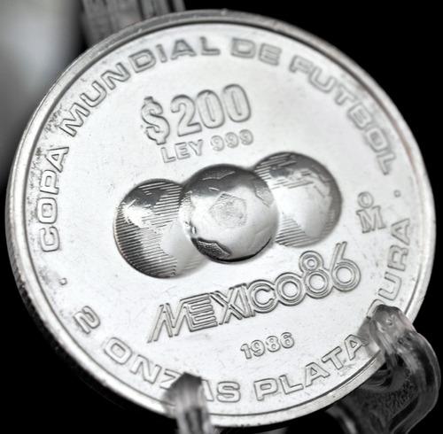 2 Onzas Plata Pura 1986 Moneda 200 Pesos Mundial Futbol Mex