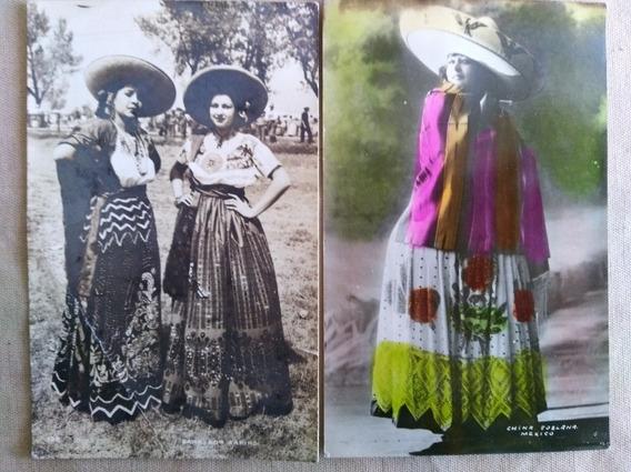 Foto Postales Antiguas De Chinas Poblanas, Pictorialista