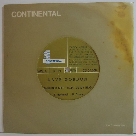 Dave Gordon 1970 Raindrops Keep Fallin On My Head Compacto