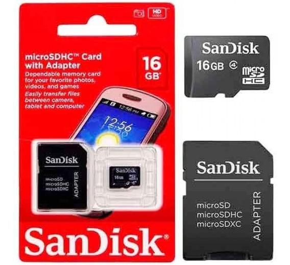Cartão De Memória Sandisk Micro Sdhc 16gb Com Adaptador Sd