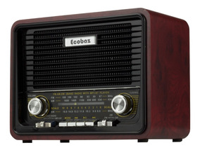 Radio Caixa Som Bluetooth Am Fm Vintage Retro Bateria Usb Sd
