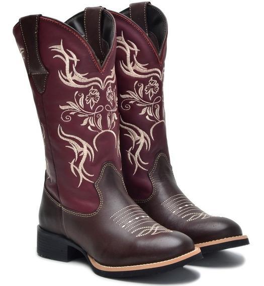 Bota Texana Feminina Couro Legítimo Cano Longo Rodeio Bico Redondo Barretos Cosurada Frete Grátis Confortável Leve Macia