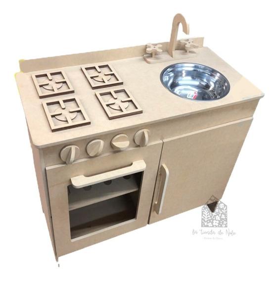 Cocina De Juguete Baja C/ Pileta Metal Infantil Fibrofacil