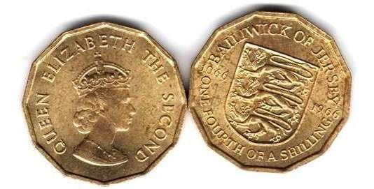 Moneda Jersey Año 1966 1/4 Shilling 12 Lados Sin Circular