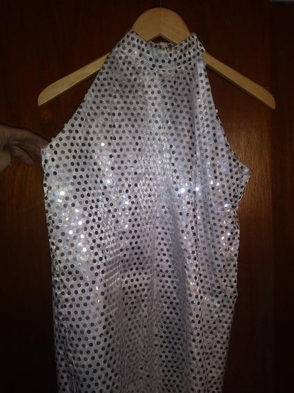 Vestido De Fiesta, Blanco Con Lentejuelas