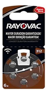 6 Pilas Para Audifono Rayovac Numero 312 Pr41 1,4v Cinc Aire