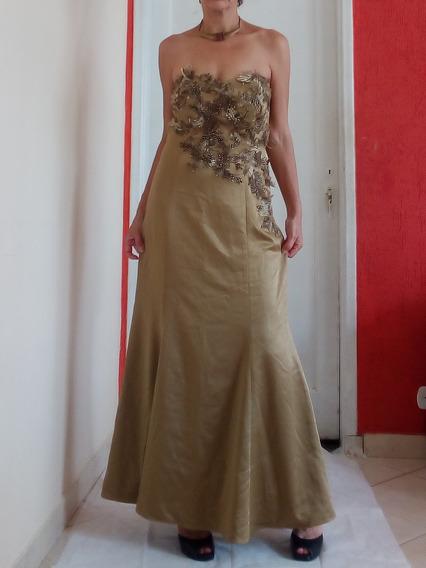 Vestido De Festa Bronze Com Apliques Bi In