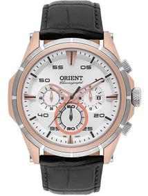 Relógio Masculino Orient Couro E Aço Rose Mtscc025 Original