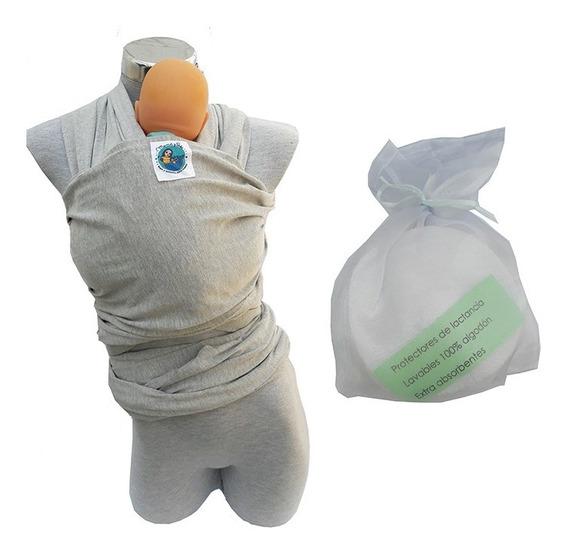 Paquete Fular Gris Y Protectores De Lactancia Lavables