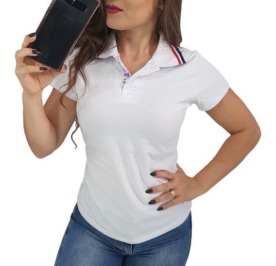 Camisetas Femininas Gola Polo Promoção Baby Look Blusas Lisa