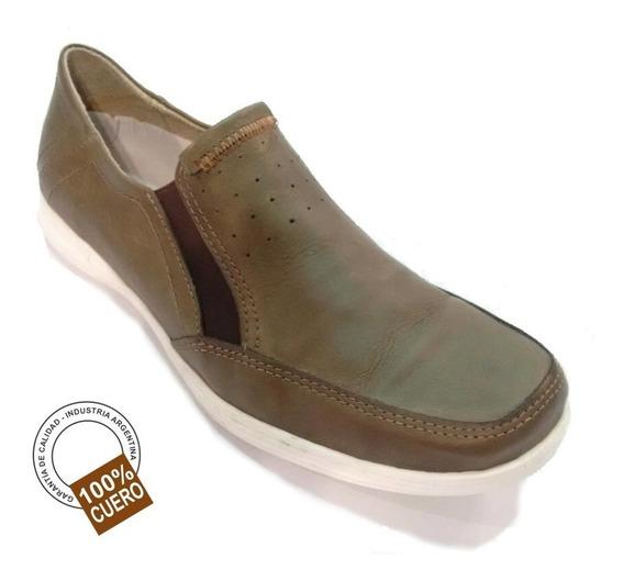 Zapato Náutico 100% Cuero Con Elástico Color Verde Musgo Foot Notes Cod. 261