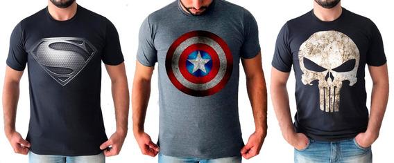 3 Camisetas Superherois Capitao America Super Man Justiceiro