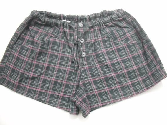 Shorts Feminino Xadrez Com Elástico Veste P E M Bom Estado